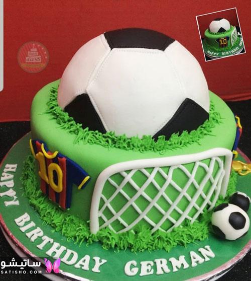 کیک تولد پسرانه مدل زمین فوتبال