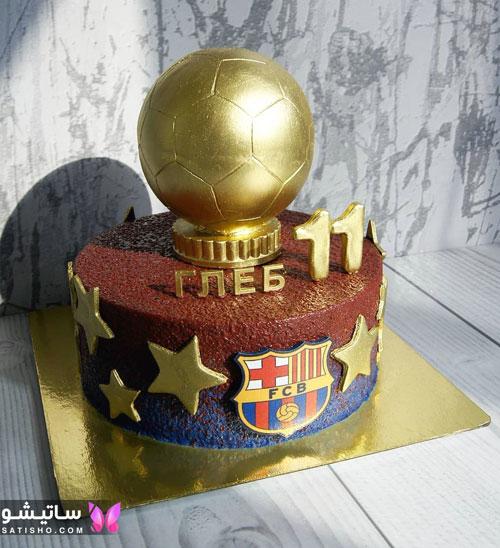 نمونه کیک تولد پسرانه شکل توپ