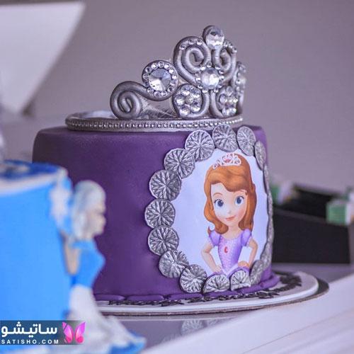 کیک تولد دخترانه عکس دار، طرح سیندرلا