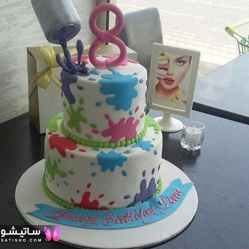 کیک تولد دخترانه دوطبقه بسیار زیبا