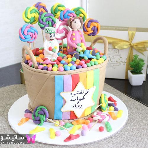 جدیدترین کیک تولد دخترانه 98 به شکل سبد