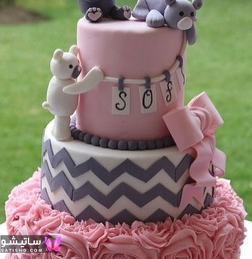 کیک تولد فانتزی دخترانه با طرح شخصیت های کارتونی