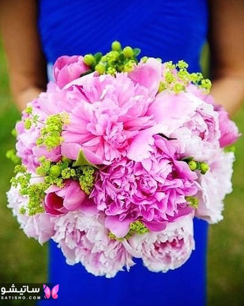 مدل دسته گل عروس بزرگ با گل های صورتی