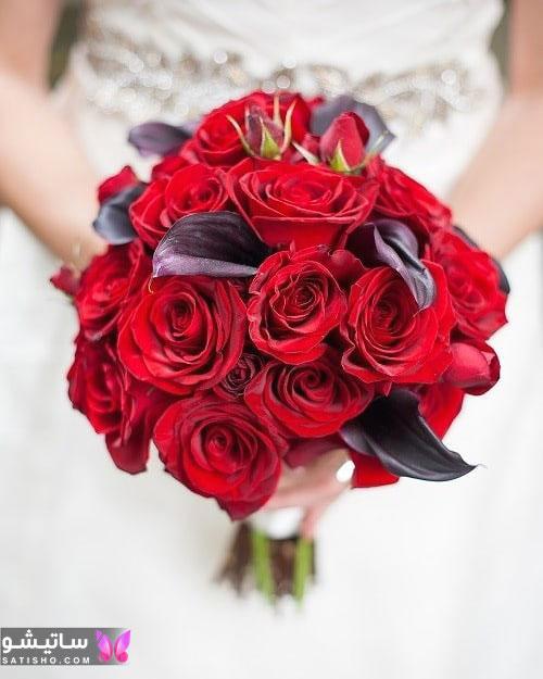 دسته گل عروس طبیعی قرمز