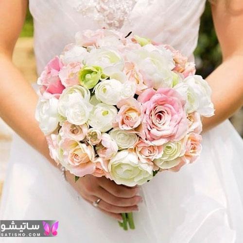 عکس دسته گل عروس با گل های ظریف