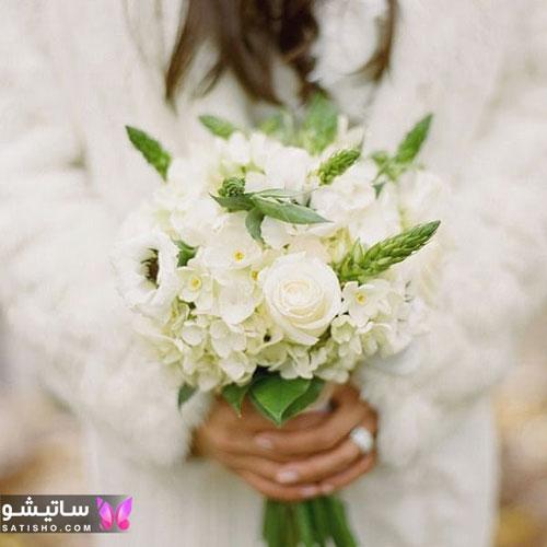 دسته گل عروس شیک با تم سفید