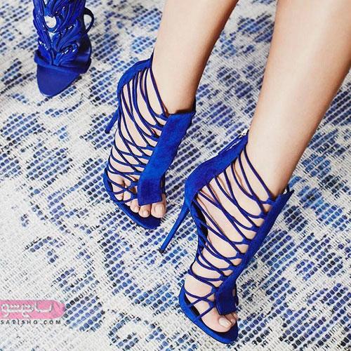 کفش بنددار دخترانه با رنگ آبی کاربنی