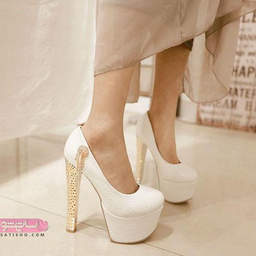 کفش سفید پاشنه بلند مخصوص عروس