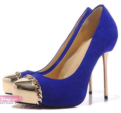 مدل کفش مجلسی آبی کاربنی برای لباس مجلسی ست
