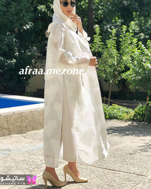 مدل مانتو سفید رنگ مناسب عقد و نامزدی