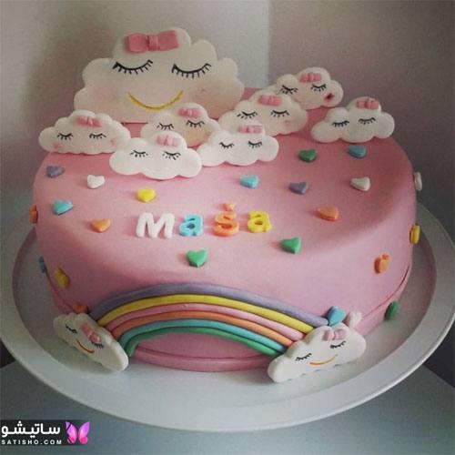 تزیین کیک تولد به شکل ابر