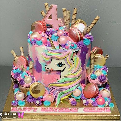 کیک تولد شلوغ دخترانه به شکل یونیکورن اسب تک شاخ