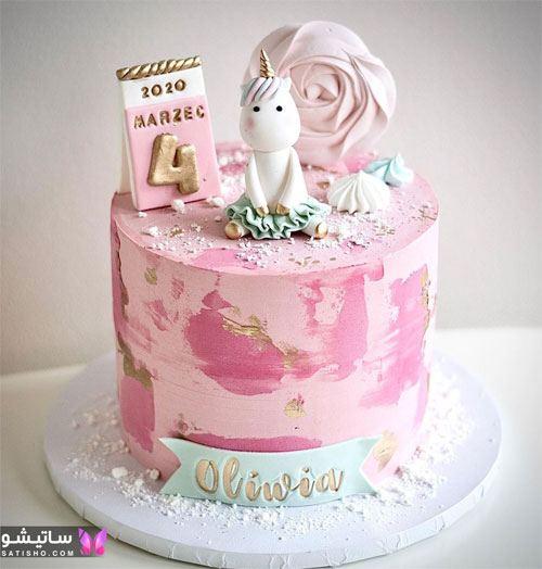 تزیین کیک تولد به شکل یونیکورن