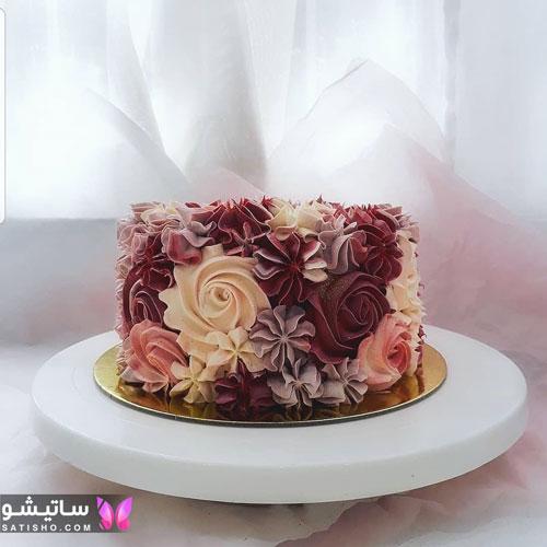 عکس کیک تولد با گل های برجسته حوشمزه