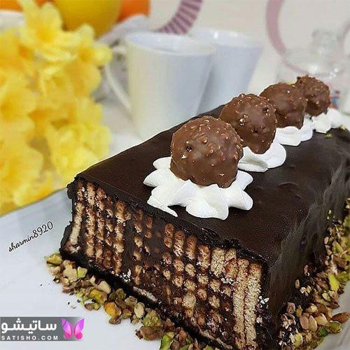 تزیین کیک تولد شکلاتی خانگی