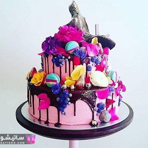 عکس کیک تولد خامه ای شکلاتی دخترانه