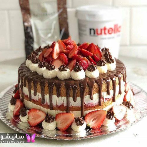 مدلهای جدید تزیین کیک تولد شکلاتی با میوه