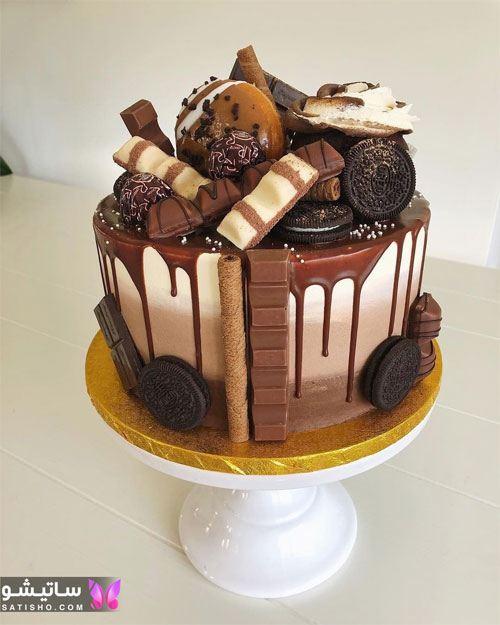 تزیین کیک تولد با گاناش شکلاتی