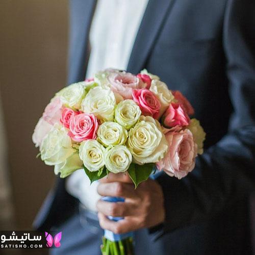 دسته گل عروس طبیعی رز