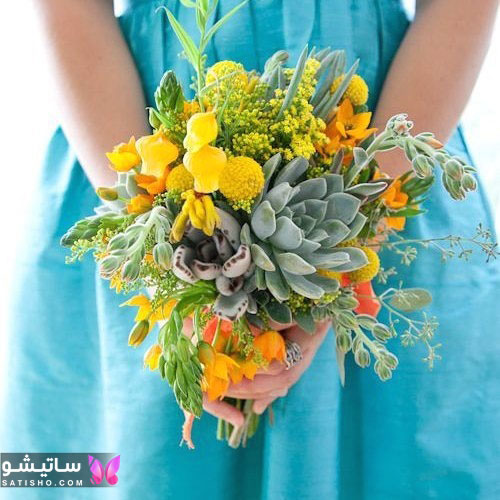 دسته گل طبیعی عروس اینستا