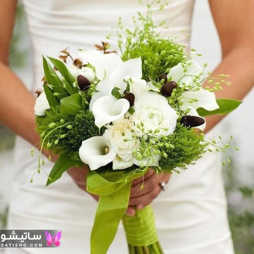 دسته گل طبیعی عروس سفید