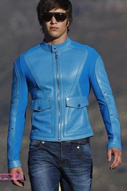 کاپشن چرم اصل مردانه جذب رنگ آبی