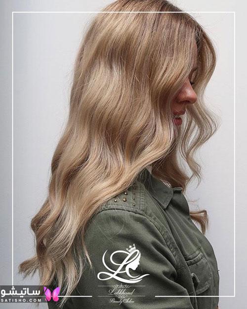 رنگ مو روشن و بلوند دخترانه مناسب موهای بلند