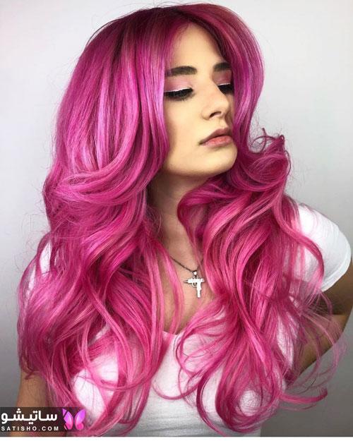 رنگ موی صورتی فانتزی دخترانه