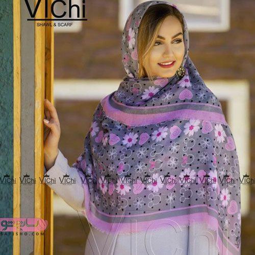 روسری طوسی گلدار زنانه