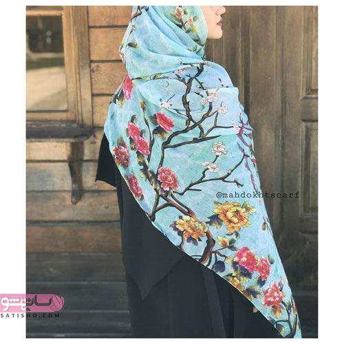روسری آبی دخترانه طرح طبیعت