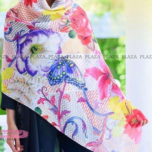 عکس روسری زنانه طرح گل و پروانه