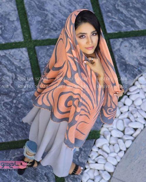 مدل روسری نخی دو رنگ