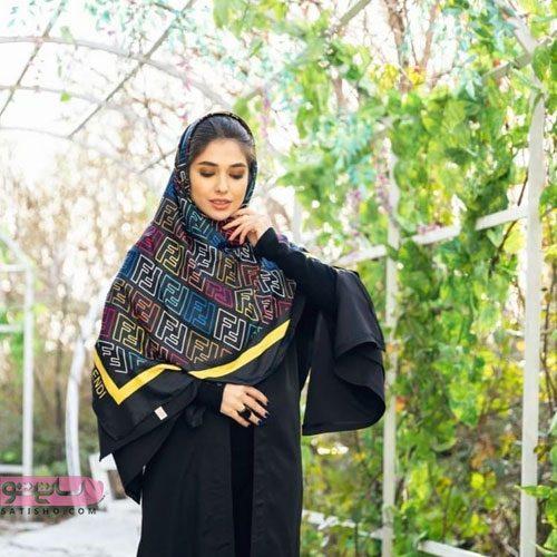 عکس روسری مشکی زنانه طرح شیک