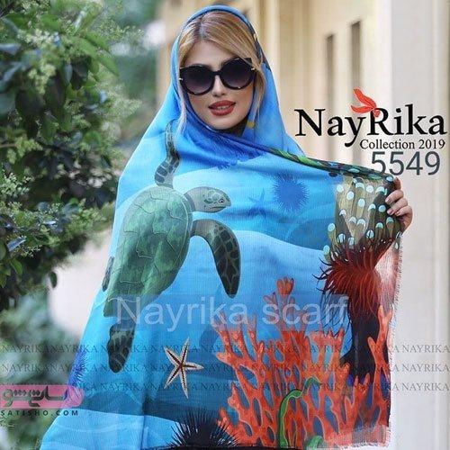 روسری آبی دخترانه طرح دریا