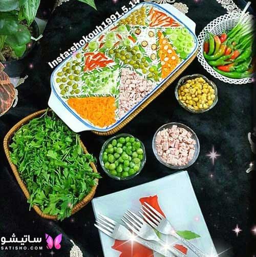 عکس دیزاین سالاد الویه رستورانی برای مهمانی