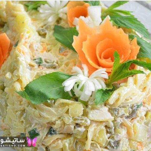 تزیینات سالاد الویه رستورانی با هویچ