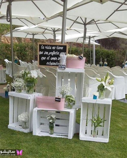 دکوراسیون عروسی با جعبه های چوبی
