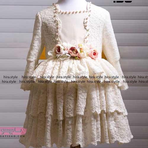 مدل لباس عروس بچه گانه با گیپور سفید