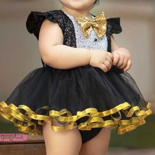 مدل لباس مجلسی دختر بچه مناسب دو سال رنگ مشکی