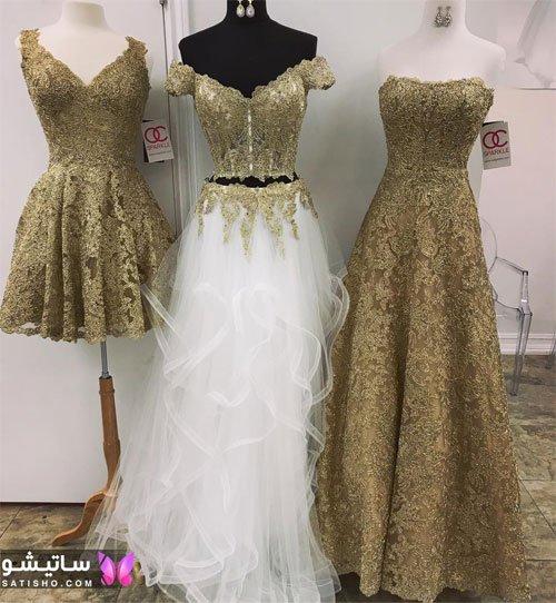 جدیدترین مدلهای لباس مجلسی دخترانه لاکچری ، گیپور طلایی