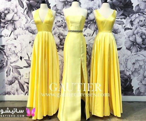 لباس مجلسی های فانتزی زنانه رنگ زرد خردلی