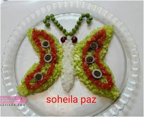 تزیین سالاد شیرازی به شکل پروانه