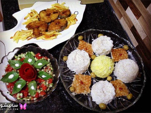 تزیین سالاد شیرازی با سبزیجات