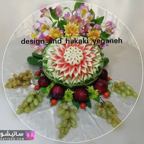 میوه آرایی هندوانه طرح گل مناسب یلدا 98