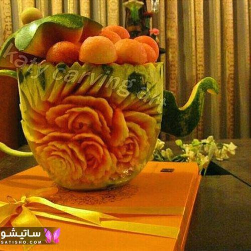 دیزاین هندوانه شب یلدا به شکل قوری