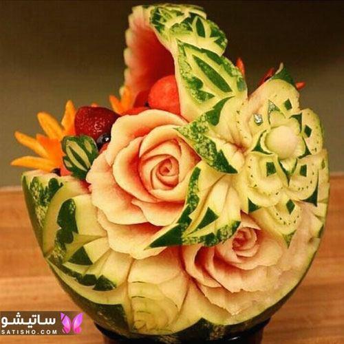 عکس هندوانه تزیین شده شب یلدا