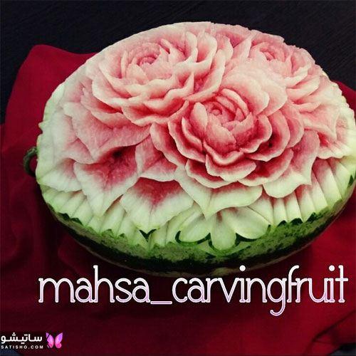 تزیین هندوانه به شکل گل برای شب یلدا