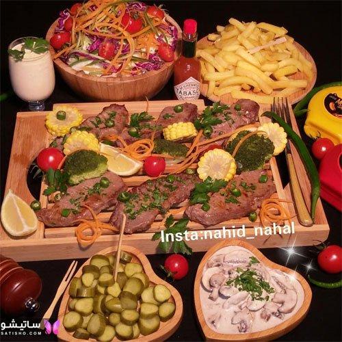 تزیین میز غذا با ظروف چوبی