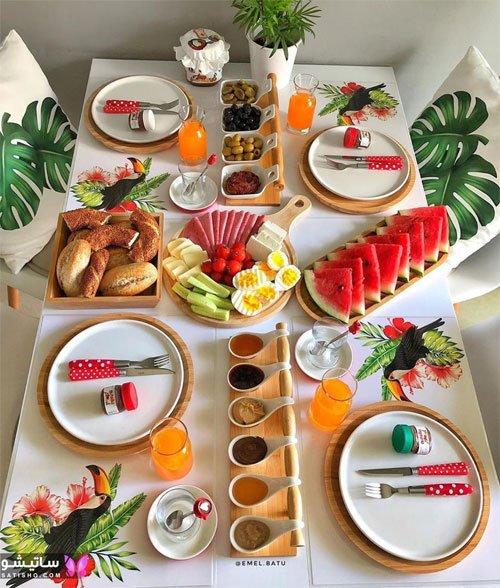 نمونه تزیین رستورانی صبحانه