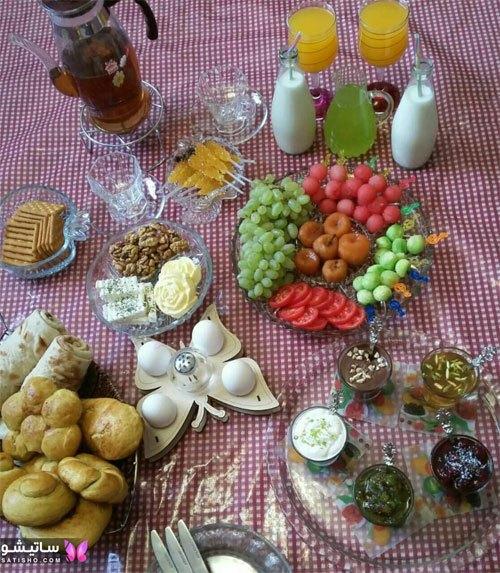 تزیین ساده میز صبحانه خوری